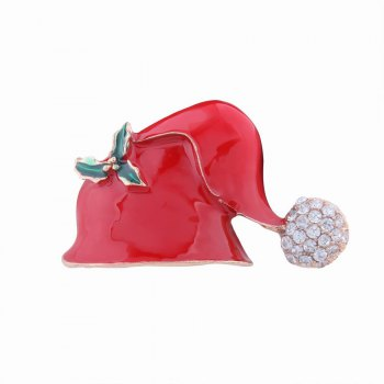 Fashion Design Christmas Hat Alloy Brooch with Diamond Charm Jewelry - RED RED