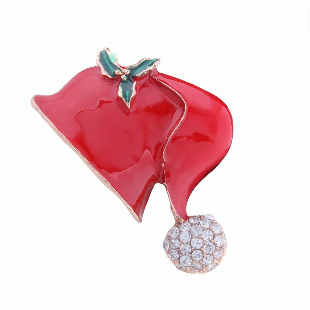Fashion Design Christmas Hat Alloy Brooch with Diamond Charm Jewelry - RED