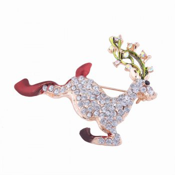 Fashion Design Christmas Lovely Fawn Alloy Brooch with Rhinestones Charm Jewelry - multicolorCOLOR