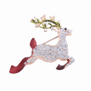 Fashion Design Christmas Lovely Fawn Alloy Brooch with Rhinestones Charm Jewelry - MULTICOLOR multicolorCOLOR