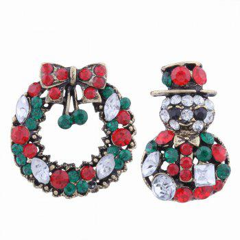 2 pcs Fashion Design Snowman and Christmas Flower Wreath Couples Brooch Set with Rhinestones - MULTICOLOR multicolorCOLOR