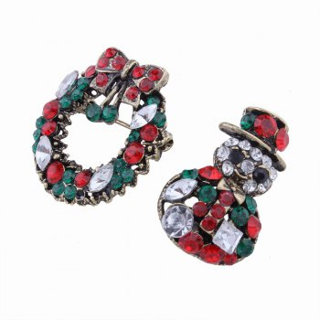 2 pcs Fashion Design Snowman and Christmas Flower Wreath Couples Brooch Set with Rhinestones -  multicolorCOLOR