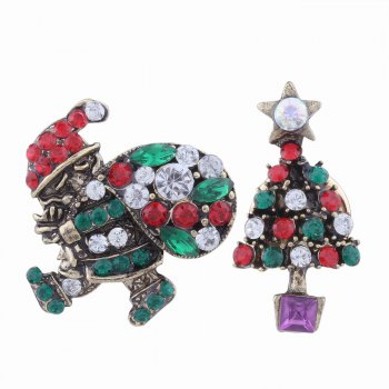2pcs Fashion Design Santa Claus and Christmas Tree  Brooch with Rhinestones Charm Jewelry - MULTICOLOR multicolorCOLOR