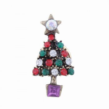 2pcs Fashion Design Santa Claus and Christmas Tree  Brooch with Rhinestones Charm Jewelry -  multicolorCOLOR