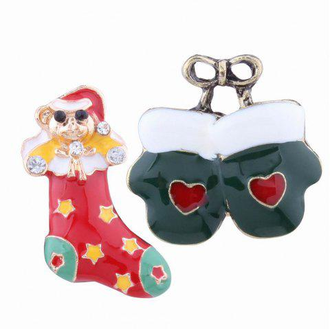 2pcs Fashion Design Christmas Socks Gloves Brooch with Rhinestones Charm Jewelry - multicolorCOLOR