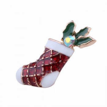 3pcs Fashion Design Christmas Snowman Sock Deer Brooch with Rhinestones Charm Jewelry - multicolorCOLOR