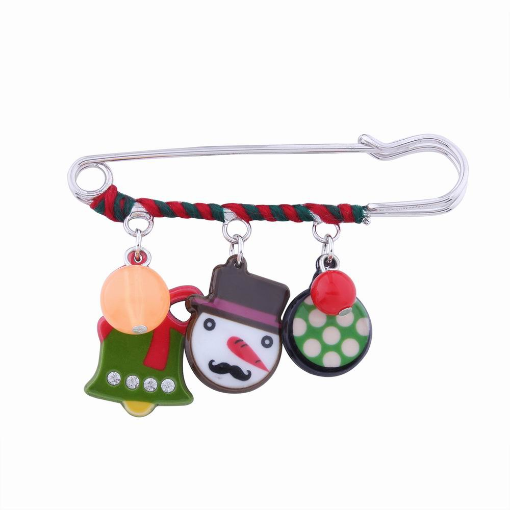 Fashion Design Christmas Snowman Bell Cartoon Funny Alloy Brooch Pin - multicolorCOLOR