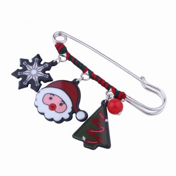 Fashion Design Snowflake Pine Snowman Christmas Pin Brooch Charm Jewelry - multicolorCOLOR