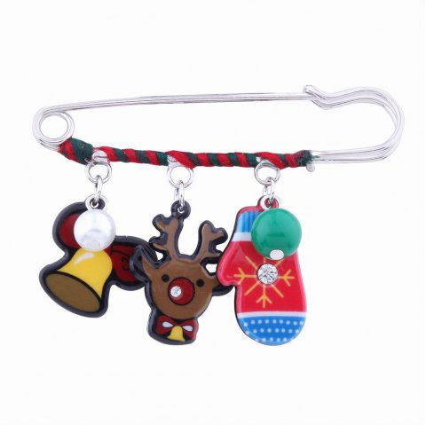 Fashion Design Christmas Lovely Deer Gloves Cartoon Funny Pin Brooch Charm Jewelry - multicolorCOLOR