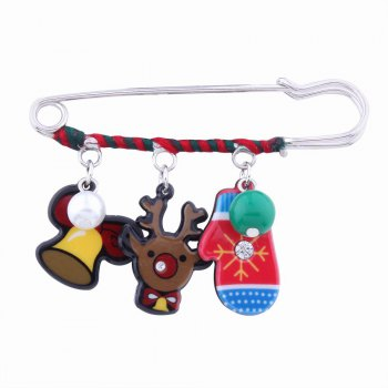 Fashion Design Christmas Lovely Deer Gloves Cartoon Funny Pin Brooch Charm Jewelry - MULTICOLOR multicolorCOLOR