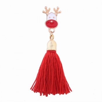 Fashion Design Christmas Deer Long Tassels Brooch Charm Accessories - RED RED