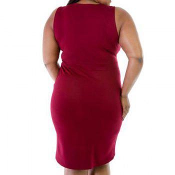 Sexy Sleeveless V-Neck Fattening Dress - RED XL