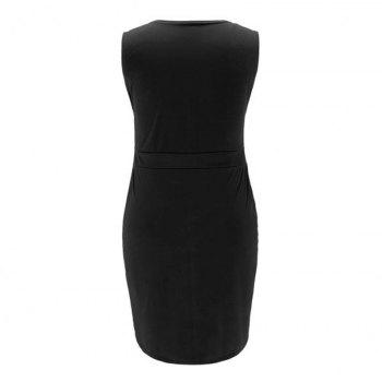 Sexy Sleeveless V-Neck Fattening Dress - BLACK XL