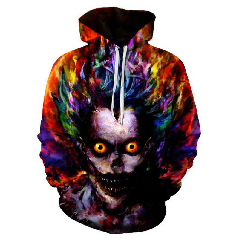 Men's Casual Plus Size Black 3D Print Hoodie Demon Print Sweatshirt plus size letter print hooded sweatshirt dress