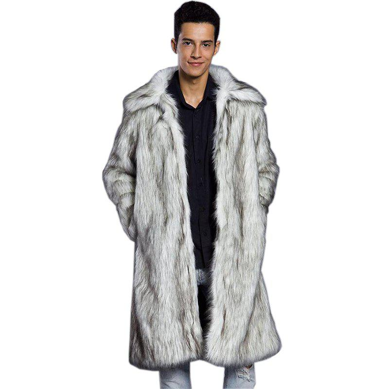 Men's Fur Coat Long Sleeve Winter Faux Fur Fox Fur faux fur coat