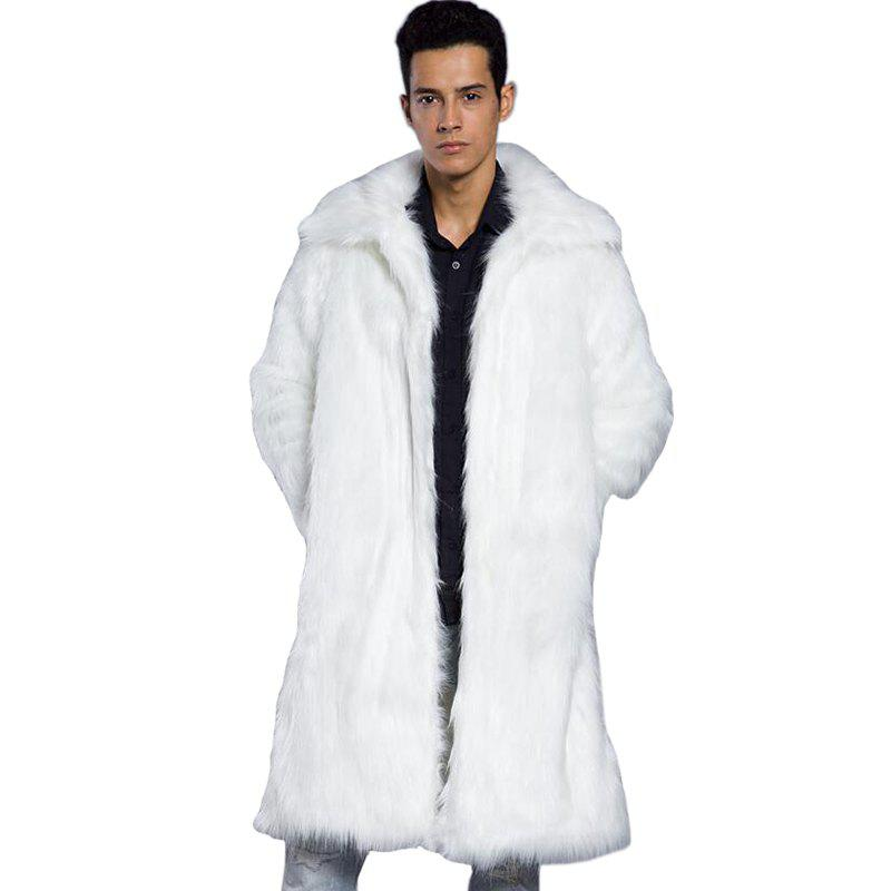 Men Fur Coat Solid Long Sleeve Faux Fur Fox Fur faux fur coat