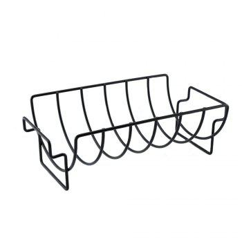 Non-stick Rib Rack Great for Cooking Ribs Roasts Chickens Camping  Picnics  and Other Outdoor Activities - BLACK BLACK
