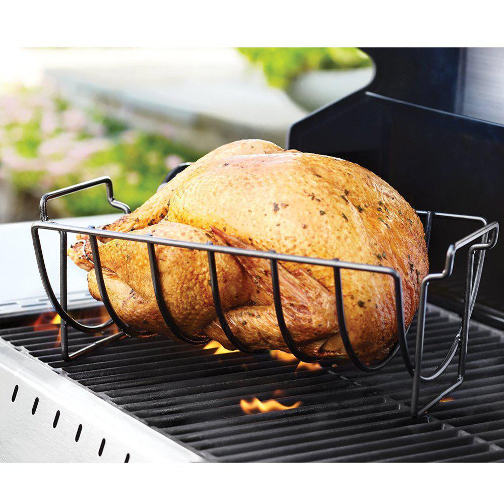 Non-stick Rib Rack Great for Cooking Ribs Roasts Chickens Camping  Picnics  and Other Outdoor Activities - BLACK