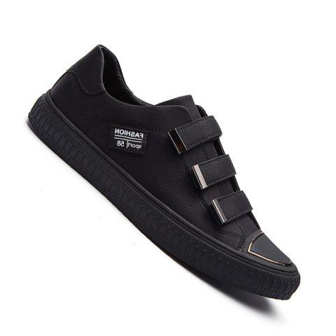 Men Casual New Trend for Fashion Suede Warm Outdoor Lace Up Rubber Shoes - BLACK 39