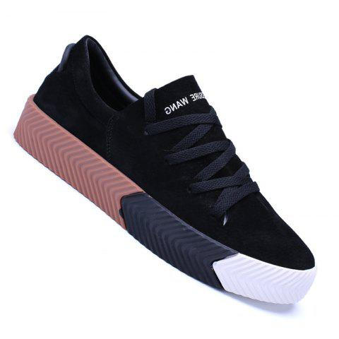 Men Casual New Trend for Fashion Lace up  Outdoor Rubber Flat Shoes - BLACK 43