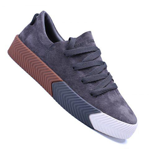 Men Casual New Trend for Fashion Lace up  Outdoor Rubber Flat Shoes - GRAY 44