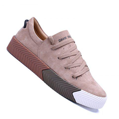 Men Casual New Trend for Fashion Lace up  Outdoor Rubber Flat Shoes - YELLOW 39