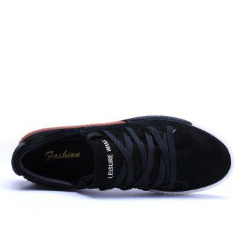 Men Casual New Trend for Fashion Lace up  Outdoor Rubber Flat Shoes - BLACK 41