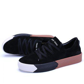 Men Casual New Trend for Fashion Lace up  Outdoor Rubber Flat Shoes - BLACK 42