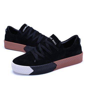 Men Casual New Trend for Fashion Lace up  Outdoor Rubber Flat Shoes - BLACK 39