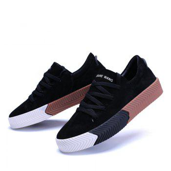 Men Casual New Trend for Fashion Lace up  Outdoor Rubber Flat Shoes - BLACK 40