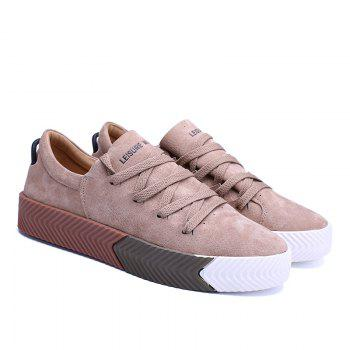 Men Casual New Trend for Fashion Lace up  Outdoor Rubber Flat Shoes - YELLOW 40