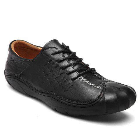 Men Business Breathable Outdoor Walking Fashion British Shoes - BLACK 38