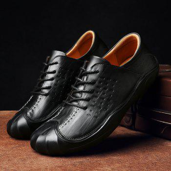 Men Business Breathable Outdoor Walking Fashion British Shoes - BLACK 42