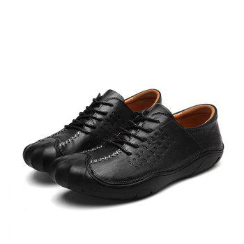 Men Business Breathable Outdoor Walking Fashion British Shoes - BLACK 40
