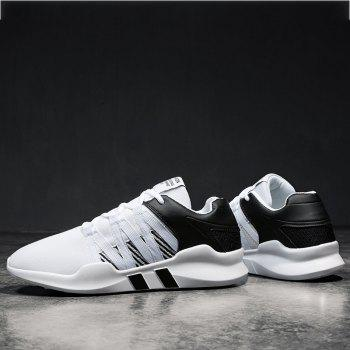 Men Leisure Fashion Running Sport Shoes Breathable Walking Sneakers - BLACK WHITE 43