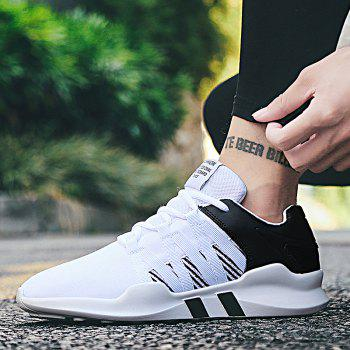 Men Leisure Fashion Running Sport Shoes Breathable Walking Sneakers - BLACK WHITE 44