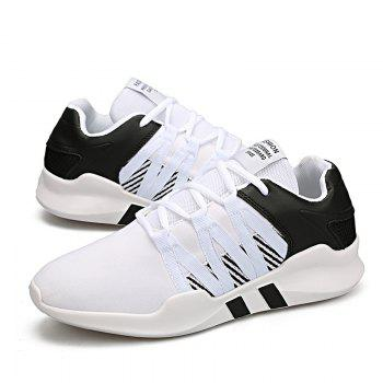 Men Leisure Fashion Running Sport Shoes Breathable Walking Sneakers - BLACK WHITE 42