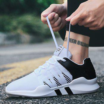 Men Leisure Fashion Running Sport Shoes Breathable Walking Sneakers - BLACK WHITE 39
