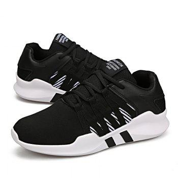 Men Leisure Fashion Running Sport Shoes Breathable Walking Sneakers - BLACK 42