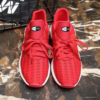 Men Leisure Fashion Running Shoes Breathable Walking Sneakers - RED 37