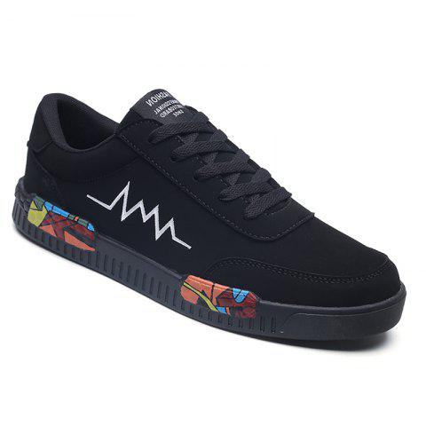 Fashion Men Leisure Shoes Breathable Walking Casual Sneakers - BLACK WHITE 40