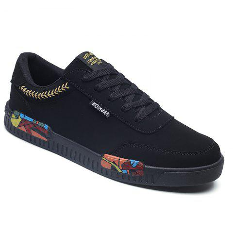 Fashion Men Leisure Shoes Male Breathable Walking Casual Sneakers - BLACK / GOLDEN 41