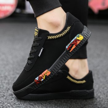 Fashion Men Leisure Shoes Male Breathable Walking Casual Sneakers - BLACK / GOLDEN 43