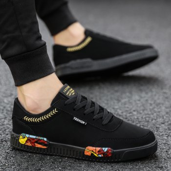 Fashion Men Leisure Shoes Male Breathable Walking Casual Sneakers - BLACK / GOLDEN 42