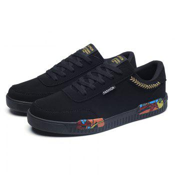 Fashion Men Leisure Shoes Male Breathable Walking Casual Sneakers - BLACK / GOLDEN 39