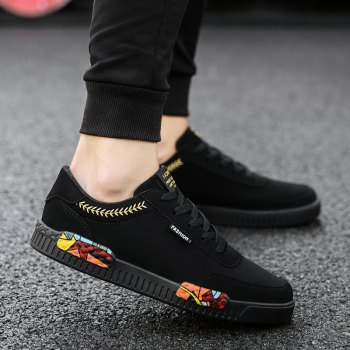Fashion Men Leisure Shoes Male Breathable Walking Casual Sneakers - BLACK / GOLDEN 40