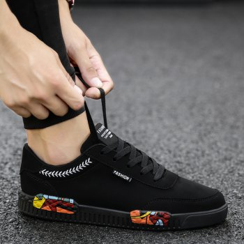 Fashion Men Leisure Shoes Male Breathable Walking Casual Sneakers - BLACK WHITE 43