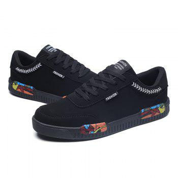 Fashion Men Leisure Shoes Male Breathable Walking Casual Sneakers - BLACK WHITE 42