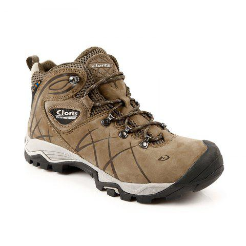 Real Leather Waterproof Outdoor Hiking Boots Rubber Athletic Sneakers for Men - BROWN 42