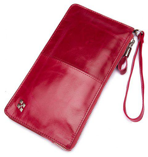 HAUT TON Women Wallet Genuine Leather Zip Clutch Checkbook Purse with Wrist Strap - ROSE RED